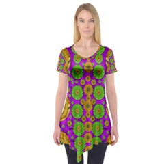 Fantasy Sunroses In The Sun Short Sleeve Tunic
