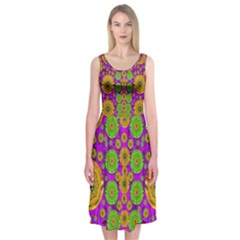 Fantasy Sunroses In The Sun Midi Sleeveless Dress