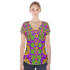Fantasy Sunroses In The Sun Short Sleeve Front Detail Top
