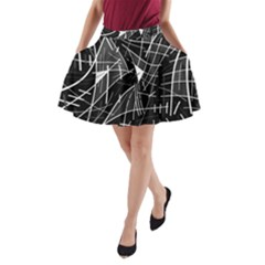 Gray abstraction A-Line Pocket Skirt