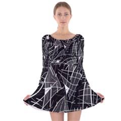Gray abstraction Long Sleeve Velvet Skater Dress