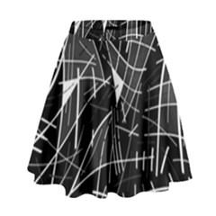 Gray abstraction High Waist Skirt