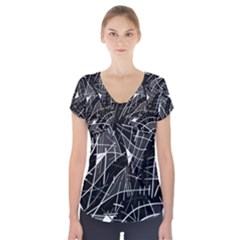 Gray abstraction Short Sleeve Front Detail Top