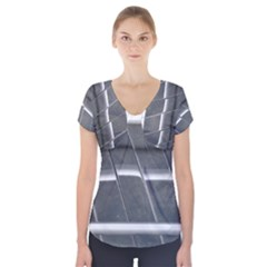 Reflective Stripes Short Sleeve Front Detail Top