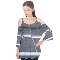 Reflective Stripes Flutter Sleeve Tee