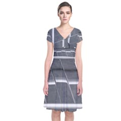 Reflective Stripes Short Sleeve Front Wrap Dress
