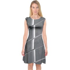 Reflective Stripes Capsleeve Midi Dress