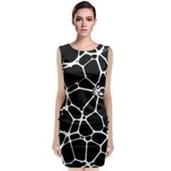 Black and White Neuron Sleeveless Midi Dress