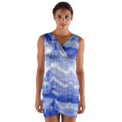 Tie Dye Indigo Wrap Front Bodycon Dress