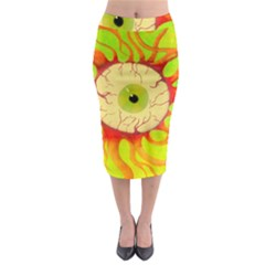 Scleral Hemorrhage Midi Pencil Skirt