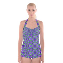 Pretty Purple Flowers Pattern Boyleg Halter Swimsuit