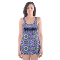 Pretty Purple Flowers Pattern Skater Dress Swimsuit