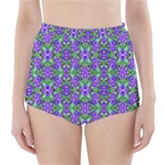 Pretty Purple Flowers Pattern High-Waisted Bikini Bottoms