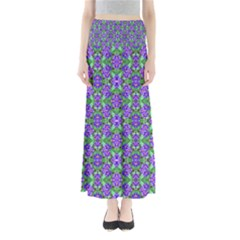 Pretty Purple Flowers Pattern Maxi Skirts