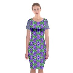 Pretty Purple Flowers Pattern Classic Short Sleeve Midi Dress