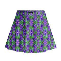 Pretty Purple Flowers Pattern Mini Flare Skirt