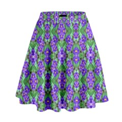 Pretty Purple Flowers Pattern High Waist Skirt