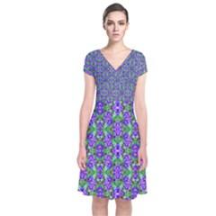 Pretty Purple Flowers Pattern Short Sleeve Front Wrap Dress
