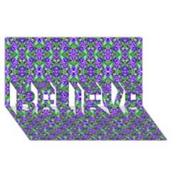 Pretty Purple Flowers Pattern BELIEVE 3D Greeting Card (8x4)