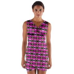 Pretty Pink Flower Pattern Wrap Front Bodycon Dress