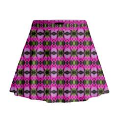 Pretty Pink Flower Pattern Mini Flare Skirt