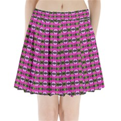 Pretty Pink Flower Pattern Pleated Mini Mesh Skirt(p209)