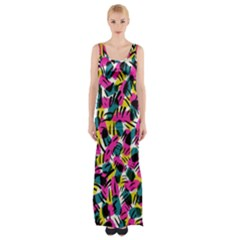 Kate Tribal Abstract Maxi Thigh Split Dress