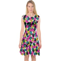 Kate Tribal Abstract Capsleeve Midi Dress