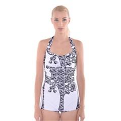 Jt Zebra Stipes 11 X 17 Boyleg Halter Swimsuit