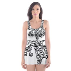 Jt Zebra Stipes 11 X 17 Skater Dress Swimsuit