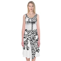 Jt Zebra Stipes 11 X 17 Midi Sleeveless Dress