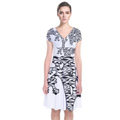 Jt Zebra Stipes 11 X 17 Short Sleeve Front Wrap Dress