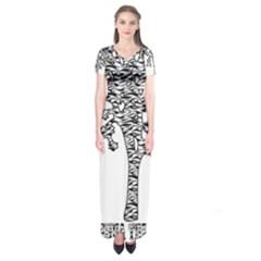 Jt Zebra Stipes 11 X 17 Short Sleeve Maxi Dress