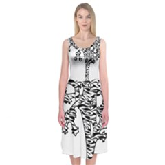 Joshua Tree Zebra Stripes Midi Sleeveless Dress