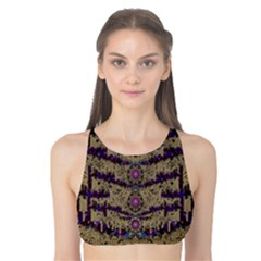 Lace Landscape Abstract Shimmering Lovely In The Dark Tank Bikini Top