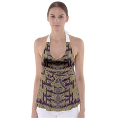 Lace Landscape Abstract Shimmering Lovely In The Dark Babydoll Tankini Top