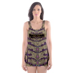 Lace Landscape Abstract Shimmering Lovely In The Dark Skater Dress Swimsuit
