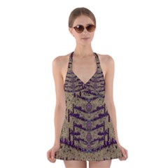 Lace Landscape Abstract Shimmering Lovely In The Dark Halter Swimsuit Dress