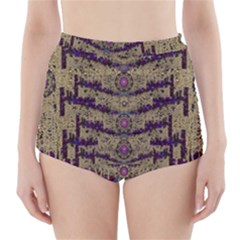 Lace Landscape Abstract Shimmering Lovely In The Dark High Waisted Bikini Bottoms