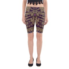 Lace Landscape Abstract Shimmering Lovely In The Dark Yoga Cropped Leggings