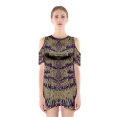 Lace Landscape Abstract Shimmering Lovely In The Dark Cutout Shoulder Dress