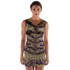 Lace Landscape Abstract Shimmering Lovely In The Dark Wrap Front Bodycon Dress