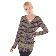 Lace Landscape Abstract Shimmering Lovely In The Dark Women s Tie Up Tee