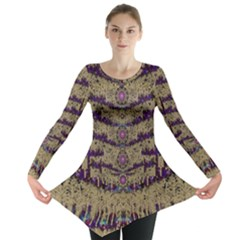 Lace Landscape Abstract Shimmering Lovely In The Dark Long Sleeve Tunic