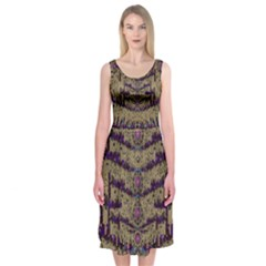 Lace Landscape Abstract Shimmering Lovely In The Dark Midi Sleeveless Dress
