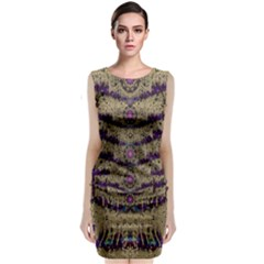 Lace Landscape Abstract Shimmering Lovely In The Dark Classic Sleeveless Midi Dress