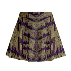 Lace Landscape Abstract Shimmering Lovely In The Dark Mini Flare Skirt