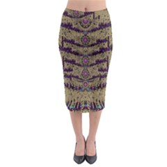 Lace Landscape Abstract Shimmering Lovely In The Dark Midi Pencil Skirt
