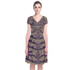 Lace Landscape Abstract Shimmering Lovely In The Dark Short Sleeve Front Wrap Dress