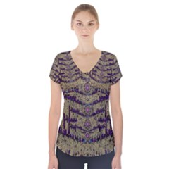 Lace Landscape Abstract Shimmering Lovely In The Dark Short Sleeve Front Detail Top